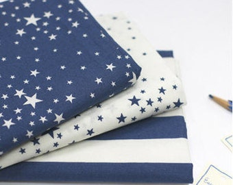 Stars Cotton Fabric - Blue Stars, White Stars or Blue Stripes - By the Yard 87281