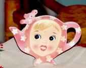 Vintage Napco Miss CUTIE PIE Tea Bag Holder in Pink