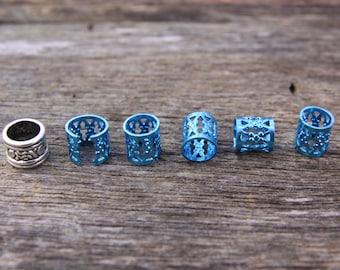 30 Blue Dreadlock Cuff Hair Beads 7mm Hole (9/32 Inch) & FREE Tibetan Silver Bead