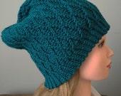 Teal Womans Winter Slouchy, Handmade Diamond Crochet Hat, Womens Teal Crochet Slouch Beanie
