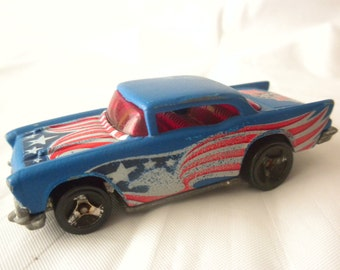 Vintage 70s 1976 Hot Wheels Toy Car 57 Blue Chevy Chevrolet American Flag Eagle