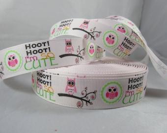 "Hoot Hoot I'm so Cute,  Owl Grosgrain Ribbon, 7/8"" Ribbon by the yard, RN15032"