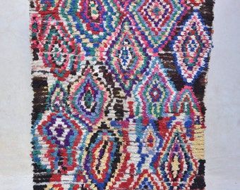"KHAO SAN ROAD 8'2"" x 4'7"" Boucherouite Rug. Tapis Moroccan. Teppich Berber. Mid Century Modern Danish Design Compliment. ZA16-5"