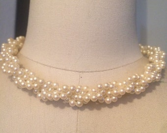 1920s inspired jewelry ivory faux Coro twist pearl choker necklace