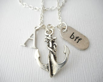 Anchor, BFF- Initial Necklace/ Love, Besties, Memory, Gift Ideas, Birthday Gift, bff jewelry, Personalized Friend, gift for bff