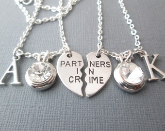 2 Partners in Crime, Crystal/ Initial Best Friend Necklaces