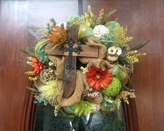 Small Rugged Cross Burlap and Mesh Wreath