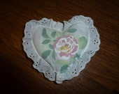 Vintage Chenille and Rose Mini Heart Lavender Sachet Pillow with Eyelet Lace
