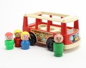 Vintage Fisher Price Little People Mini Bus, Play Family, School Bus, Little People 1969, Collectible Vintage Toy, Little People, Epsteam