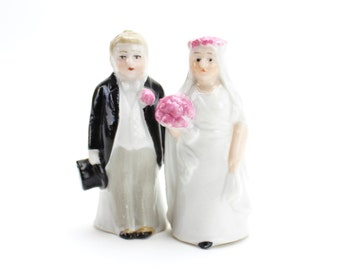 Vintage Porcelain Bride and Groom Salt and Pepper Shakers, Tiny, Miniature Wedding Couple, Antique Bride and Groom, Cake Topper, Epsteam