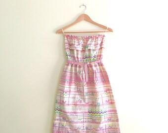 Vintage Scribble Print Strapless Sundress //  Boho Summer Dress // Festival // Hippie - 1970s