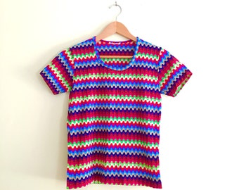 Vintage Fitted Ribbed Baby Tee / Retro Rainbow Striped Top / Hipster /  - 1970s