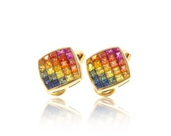 Multicolor Rainbow Sapphire Diamond Orientation 18K Gold Earrings (4.47ct tw): SKU 19041 + 18788 + 21015