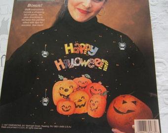 Halloween Iron on transfer pattern.Applique.Happy Halloween plus pumpkins 8x10 transfer