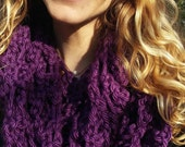 Purple Handmade Crochet Winter Scarf
