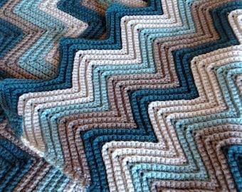 Chevron Crochet Baby Blanket Handmade Chevron Crochet Baby Afghan Blues and Grays Newborn Baby Stroller Car Seat or Lap Blanket.