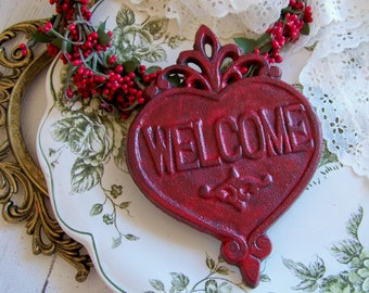Cast Iron Welcome Plaque, Welcome Sign, Shabby Style, Cottage Chic, Welcome, Signs, Cast iron, REd, Home Decor, Cast Iron, Distressed Sign
