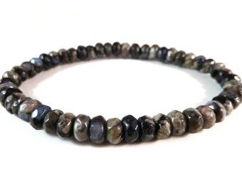 Que Sera Stone Stretch Bracelet 6mm Faceted Rondelle Roundel Shape Gemstone Beads