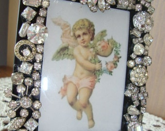 Picture Frame Decorated With Vintage Rhinestones
