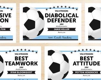 Editable Soccer Award Certificates - INSTANT DOWNLOAD PRINTABLE - Sky Light Blue and Black