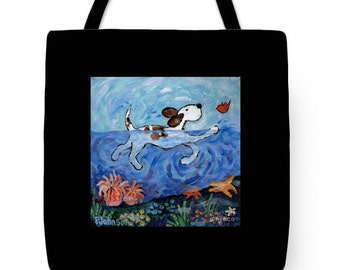 tote bag swimming dog colorful large tote Peggy Johnson every good color