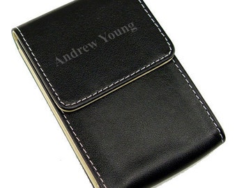 Personalized Black Leather Look Business Card Holder