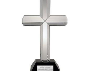 Engraved Crystal Cross on Black Crystal Base