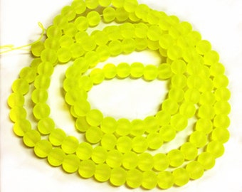 31 inch strand 6mm glass  frosted glass beads-over 140 beads-7945