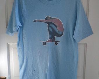 Vintage 70s SKATEBOARDER Transfer T Shirt sz S