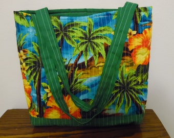 Quilted Tote Bag with Tropical Scene - Cruise Tote, Coloring book tote, Library/Book Bag, Kntting and Crochet Craft Carry All