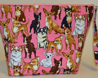 Chihuahuas in pink project bag