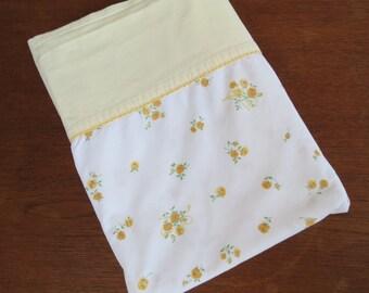 Vintage Sheet - Tiny Mustard Rose Floral - Twin or Single Flat Sheet