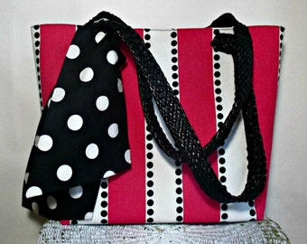 Tote Bag, Hot Pink, Black, White Tote Bag, Polka Dot Tote Bag, Women's Handbags - Handmade by iDesign For You