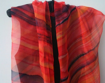 Fabulous Red and Black Striped Chiffon Scarf for Ladies. Festive Design Sunset in Desert Red, Orange, Black 18x71 Chiffon Scarf Hand Painted