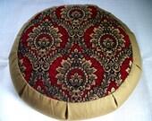 "Meditation Cushion. Zafu. Floor Pillow. Buckwheat Hulls. Black/Red/Gold Print with Olive. 15""W x 4""H.; 5"" L. Sidewall Zipper. Handmade, USA"