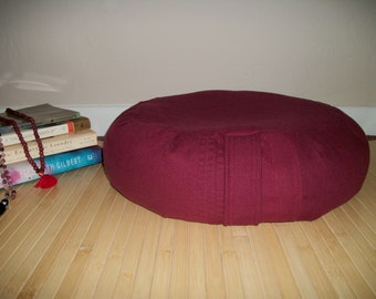 "Meditation Cushion. Zafu. Floor Pillow in Burgundy Linen Fabric. Eco Friendly. 15 x 5. UNFILLED COVER. 6"" side closure. Handmade, USA"
