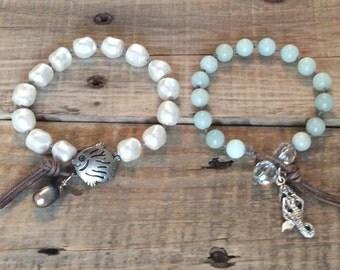 Beach Leather Wrap Bracelet - Swarovski Pearls - Amazonite, Natural Brown Leather - Boho Beach Jewelry