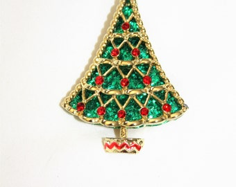 Vintage Christmas Tree Rhinestone Brooch 1960s Jewelry