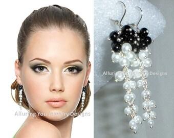 Cascading Earrings, Waterfall Earrings, Long Pearl Earrings, Black and White Pearl Earrings, Pearl Wedding, Statement Bridal Earrings