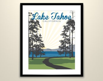South Lake Tahoe Wedding Landscape 11x14 Vintage Travel Poster - Can personalize with Names and date (frame not included)