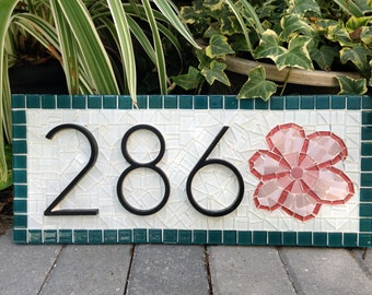 Mosaic Address Sign with Flower, Custom Housewarming Gift