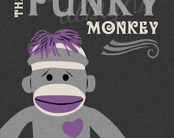 sock monkey - That Funky Monkey - Choose Your Own Color For Monkey