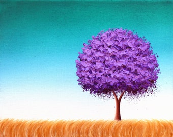 Print of Purple Tree, Archival Photo Print of Lavender Tree Painting, Mid Century Modern Home Decor, Landscape Print of Original Painting