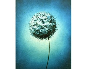 Abstract Art Print of Contemporary White Flower, Modern Art Dandelion Flower Art, Giclee Print of Blue Canvas Artwork, Wall Art, 5x7, 9x12
