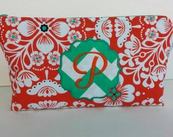 Personalized Monogrammed Orange Floral Aqua Emerald Chevron Cosmetic Bag