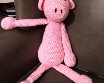 Crochet pig toy, stuffed animal, nursery, baby shower gift
