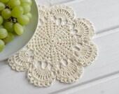 Small crochet doily Champagne color lace doilies Cream crochet doilies Doily lace crochet Ivory crochet doilies Wedding decor