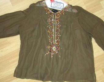 Boho Tunic Upcycled Sheer Top SZ 26  2 Piece Silk 3X 4X