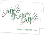 Alpha Kappa Alpha Sorority, Inc., Personalized, Folded Note Card - AKA, Note card, Pink, Green - 10 Cards with Envelopes