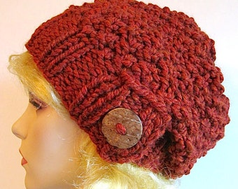 SALE Slouchy Beanie Slouch Wool Hats Oversized Baggy Beret Button womens fall winter accessory Terracotta Russet Super Chunky Hand Made Knit